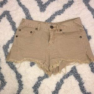 Free People Beige Denim Shorts